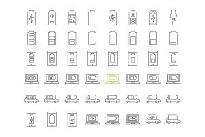 Battery charging linear icons set