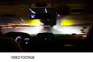 Timelapse of driving a car on night