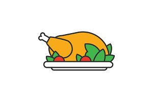Grilled whole chicken color icon