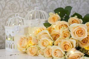 Peach roses with garlands and cells