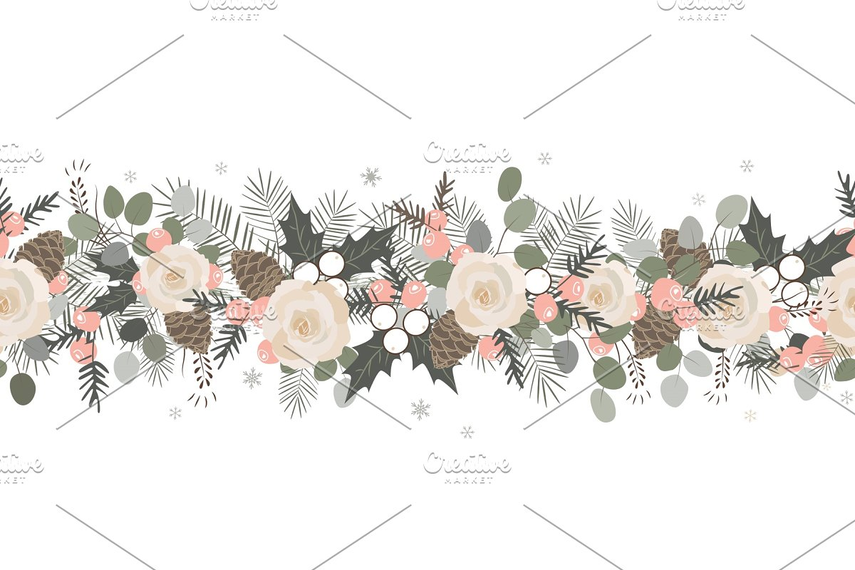 Christmas Seamless Garland Vector Graphic Objects Creative Market