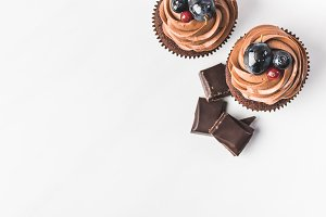 top view of chocolate cupcakes with