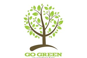 Go green tree logo