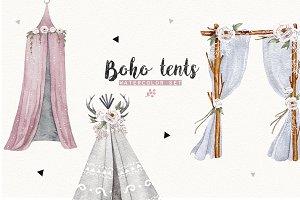 BOHO TENTS  watercolor set