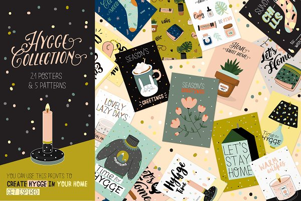 Illustrations and Illustration Products: Ruslana Vasiukova - Hygge posters and patterns