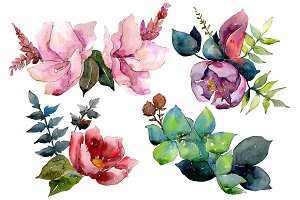 Bouquet of tropical flowers PNG set