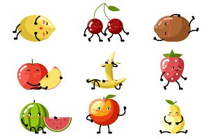 Fresh fruit cartoon children
