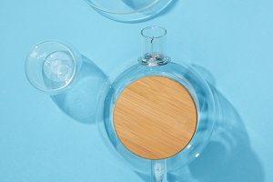 top view of empty glass teapot with