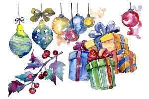 Christmas gift PNG watercolor set