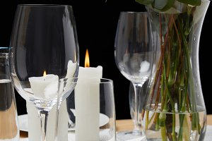 Table setting with glasses on table
