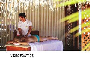 Spa treatment massage in gazebo