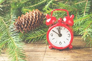 Christmas concept. Red clock