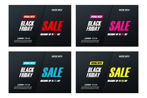 Set of Black Friday Sale Banners.