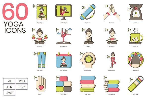 Icons: Flat Icons - 60 Cute Yoga Icons