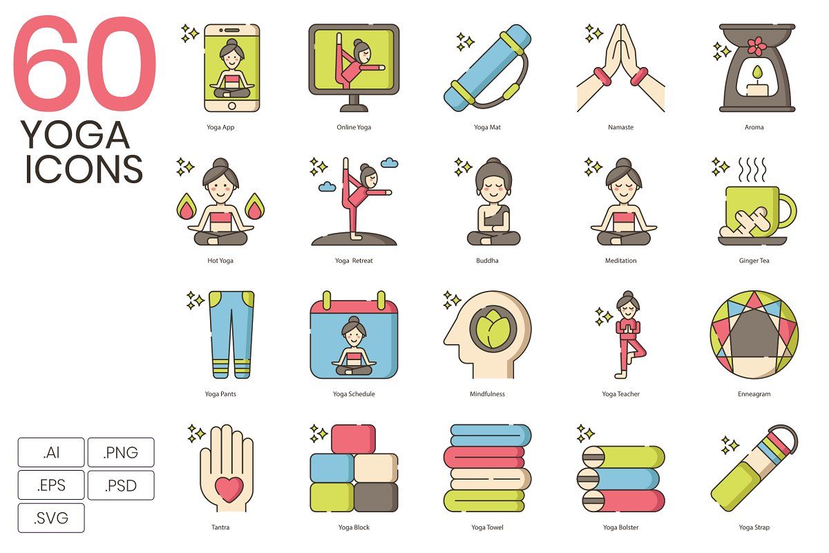 60 Cute Yoga Icons ~ Icons ~ Creative Market