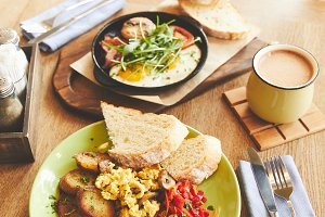 Hot breakfast dish of fried eggs and