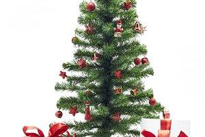Christmas fir tree with colorful lig