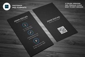 Dark Black Vertical Business Cards
