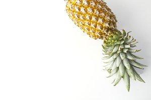ripe pineapple fruit on white backgr