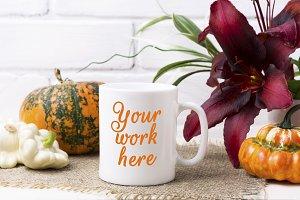 White coffee mug mockup with pumpkin