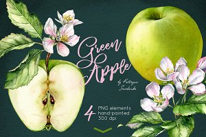 Green Apple. Watercolor set
