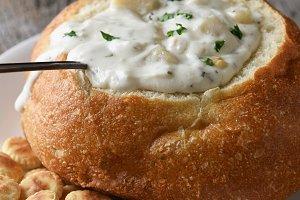 Vertical closeup of a bread bowl of