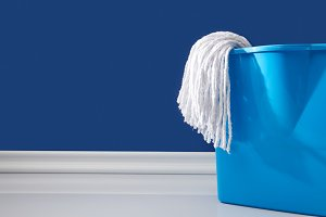 rag and bucket for spring cleaning o