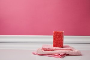 washing sponge and rags for spring c
