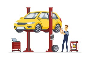 Tire service - vector illustration