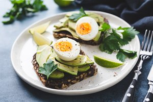 Rye toast with avocado and egg