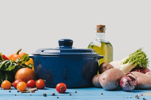 pan with ripe organic vegetables and