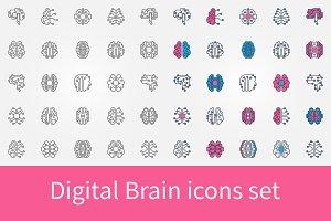Digital Brain icons set