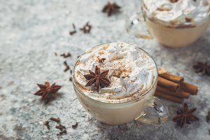 Chai latte and ingredients on