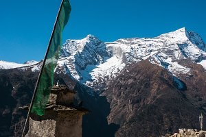 Crow on a flag stick in Himalayas