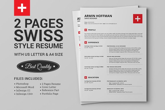 2 pages swiss resume extended pack resume templates creative 2 pages swiss resume extended pack resume templates creative market yelopaper Image collections