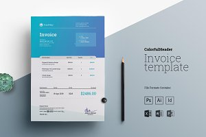 Excel Invoice with Colorful Header