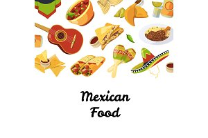 Vector cartoon mexican food