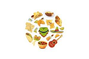 Vector cartoon mexican food in