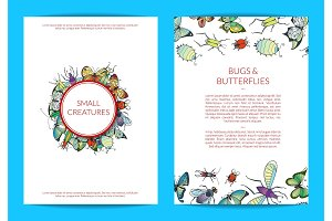 Vector hand drawn insects card of