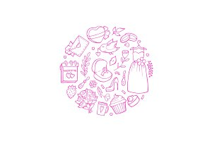 Vector doodle wedding elements in