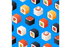 Vector isometric sushi pattern or