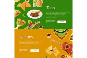 Vector cartoon mexican food web