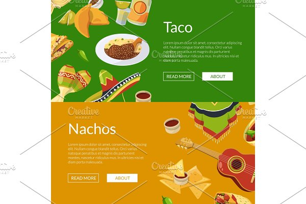 Vector cartoon mexican food web