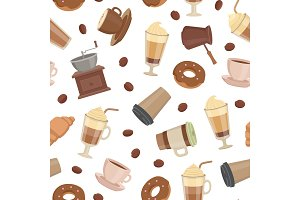 Vector cartoon coffee types pattern