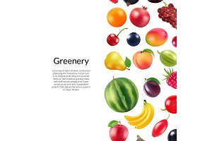 Vector realistic fruits and berries