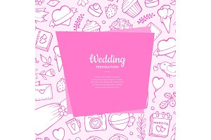 Vector doodle wedding with place for
