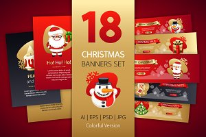 Christmas Colorful Banners Set