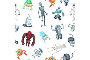 Vector cartoon robots pattern or