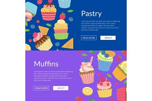 Vector cute cartoon muffins or