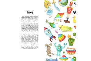 Vector cartoon children toys place